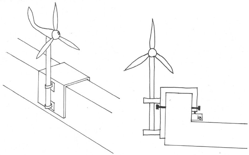 First attachment system with an isometric view (left) and