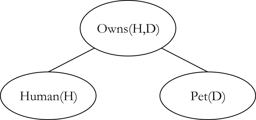 Exemplary Markov Logic Network representing the FOL