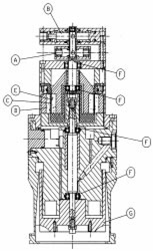 Schematic drawing of a turbo-molecular pump and its motor