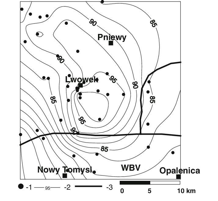 A contour map of the groundwater piezometric level