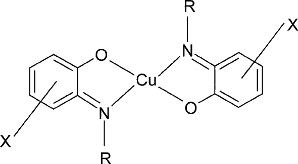 Chemical structure of copper(II) complexes of