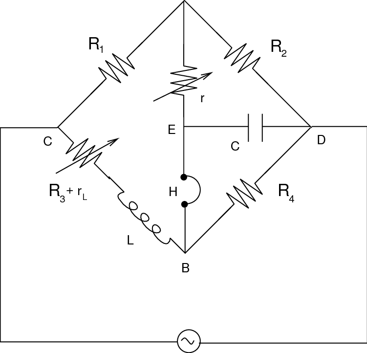 The circuit schematics for Anderson Bridge. The resistance