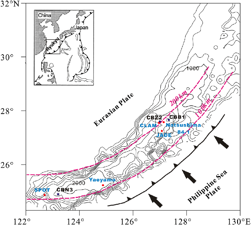 Schematic bathymetric map of the Okinawa Trough and sample