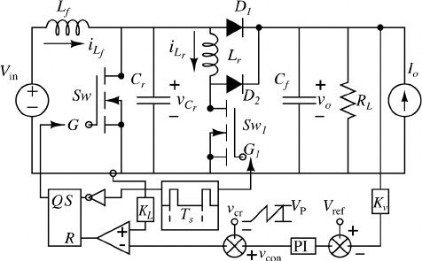 Circuit diagram of the peak current mode-controlled ZVT