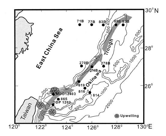 The main route of the Kuroshio Current is given