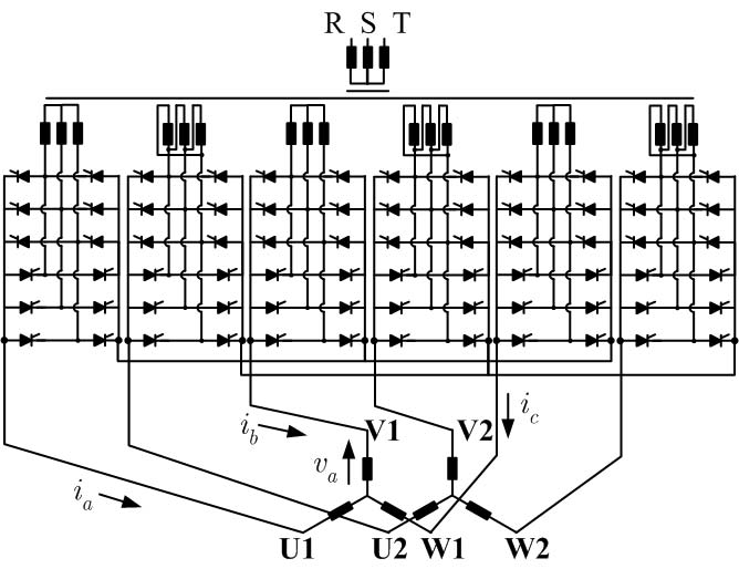 Power circuit of synchronous motor with two stator