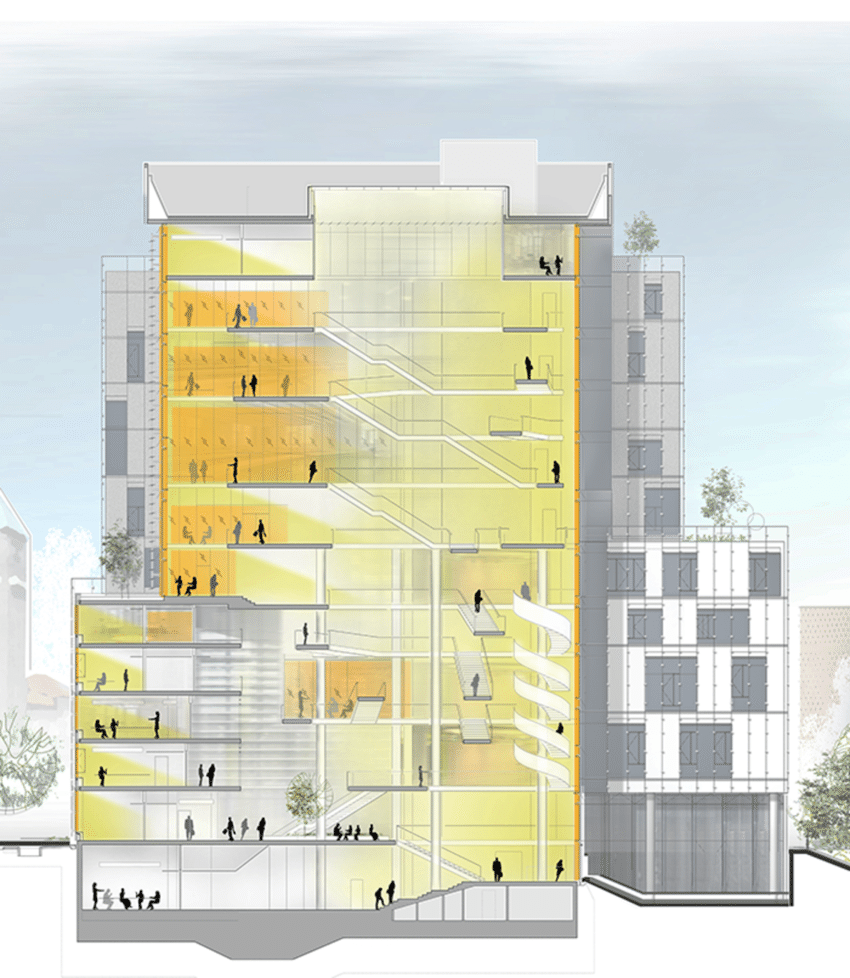 hight resolution of building section showing interior daylit atrium electrical lighting within 20 feet of facade glazing is