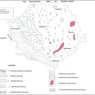 The map of Sierra Leone, its mineral distribution and its