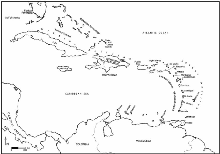Map of the Caribbean Basin. Drawing by Jill Seagard