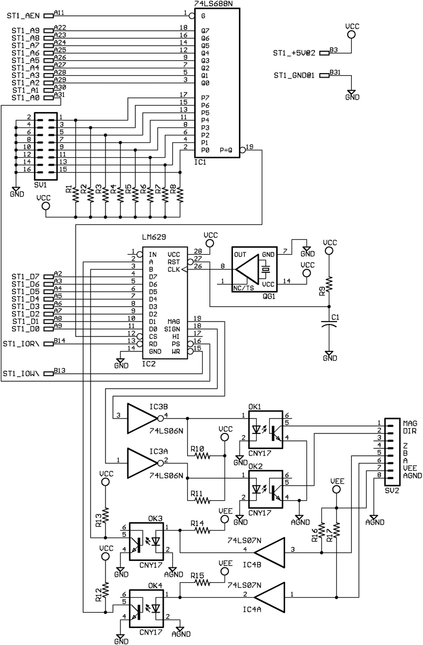 Electronic diagram of the speed control of the DC motor