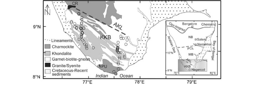 Geological map of Kerala Khondalite Block, KKB (modified