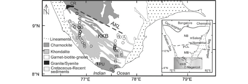 Geological map of Kerala Khondalite Block, KKB (modified