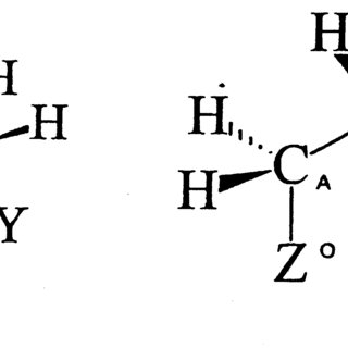 Two conformers of acetylcholine Left: anti–anti conformer