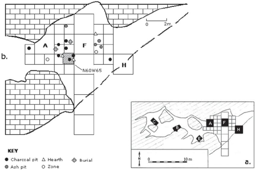 (a) Dust Cave plan view showing recent excavation units