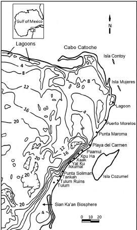 View south along the Akumal headland showing the