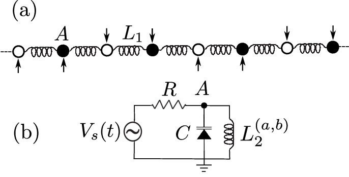 (a) Schematic circuit diagrams of the electrical lattice