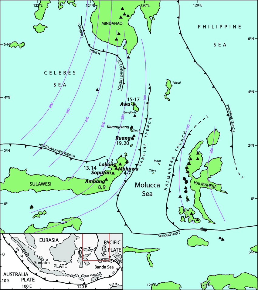 hight resolution of detailed tectonic map of molucca sea area displaying geographic features described in text location