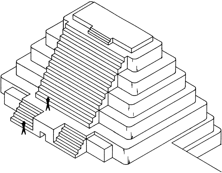 Isometric drawing of Structure 3 showing central staircase