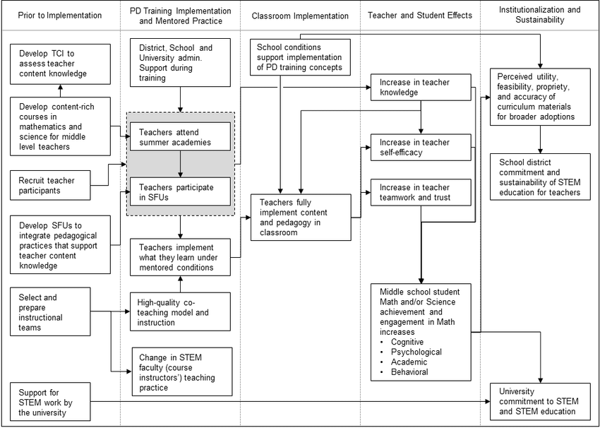 RM-MSMSP program logic model relating teacher professional