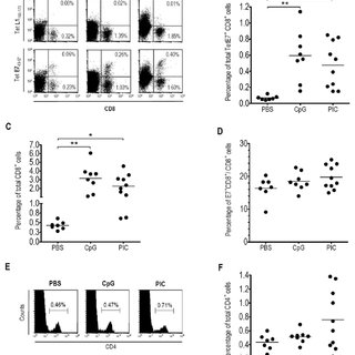 Increase of total CD8 or CD4 T-cells in CV upon ivag CpG