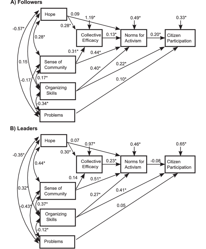 Path diagram for a multigroup structural equation model
