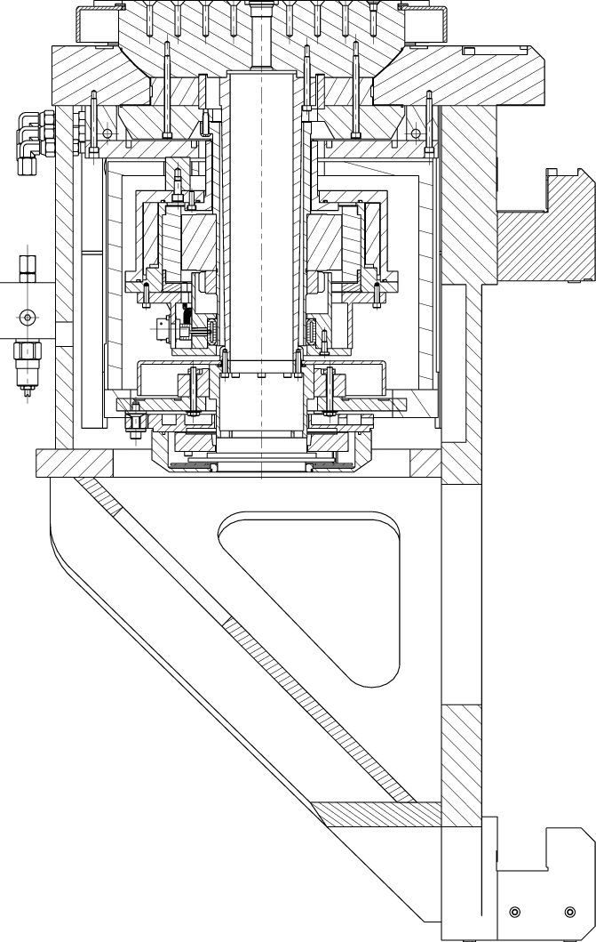 Cross section through the X-axis housing and B axis