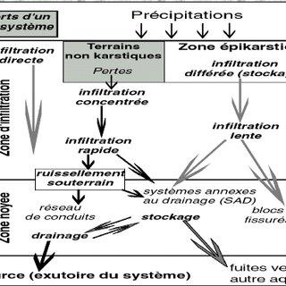 Modèle conceptuel d'un système karstique (White 2003