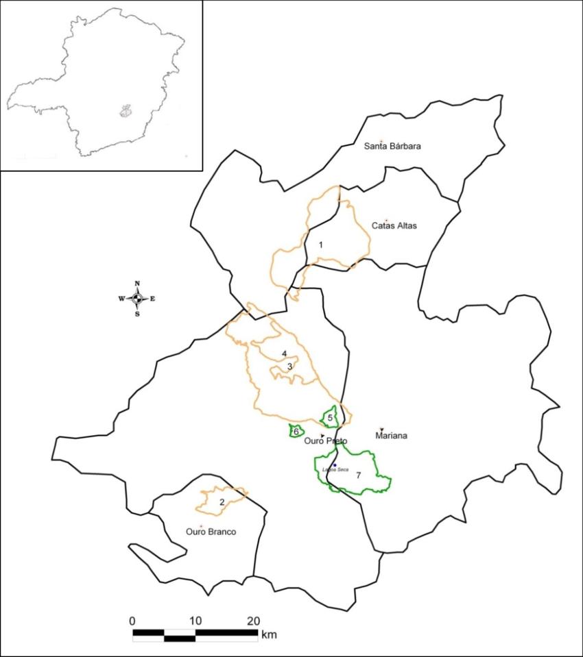 Mapa da Região de Ouro Preto, mostrando a localização do