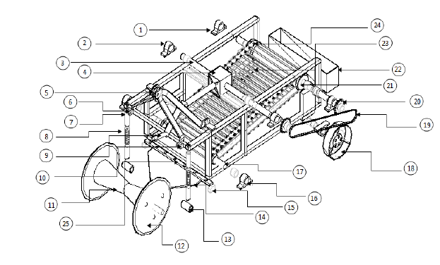 Exploded assembly drawing of component parts of the