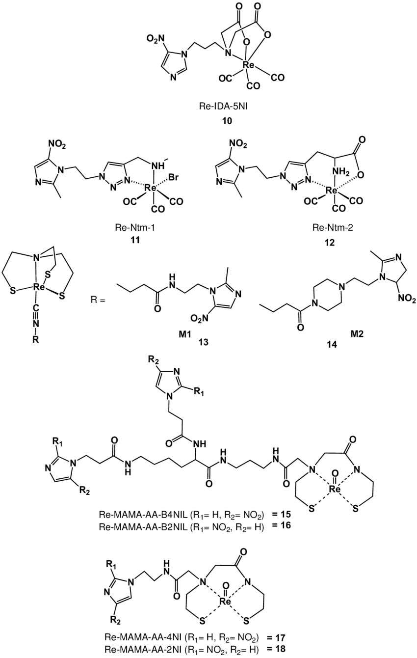 medium resolution of rhenium nitroimidazole complexes