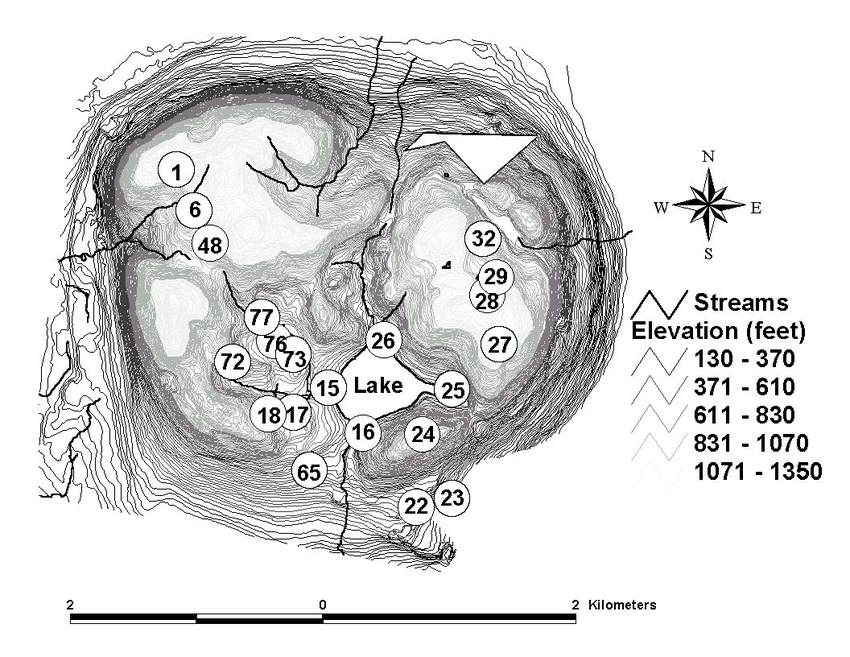 Map of study sites at Mont St.Hilaire.