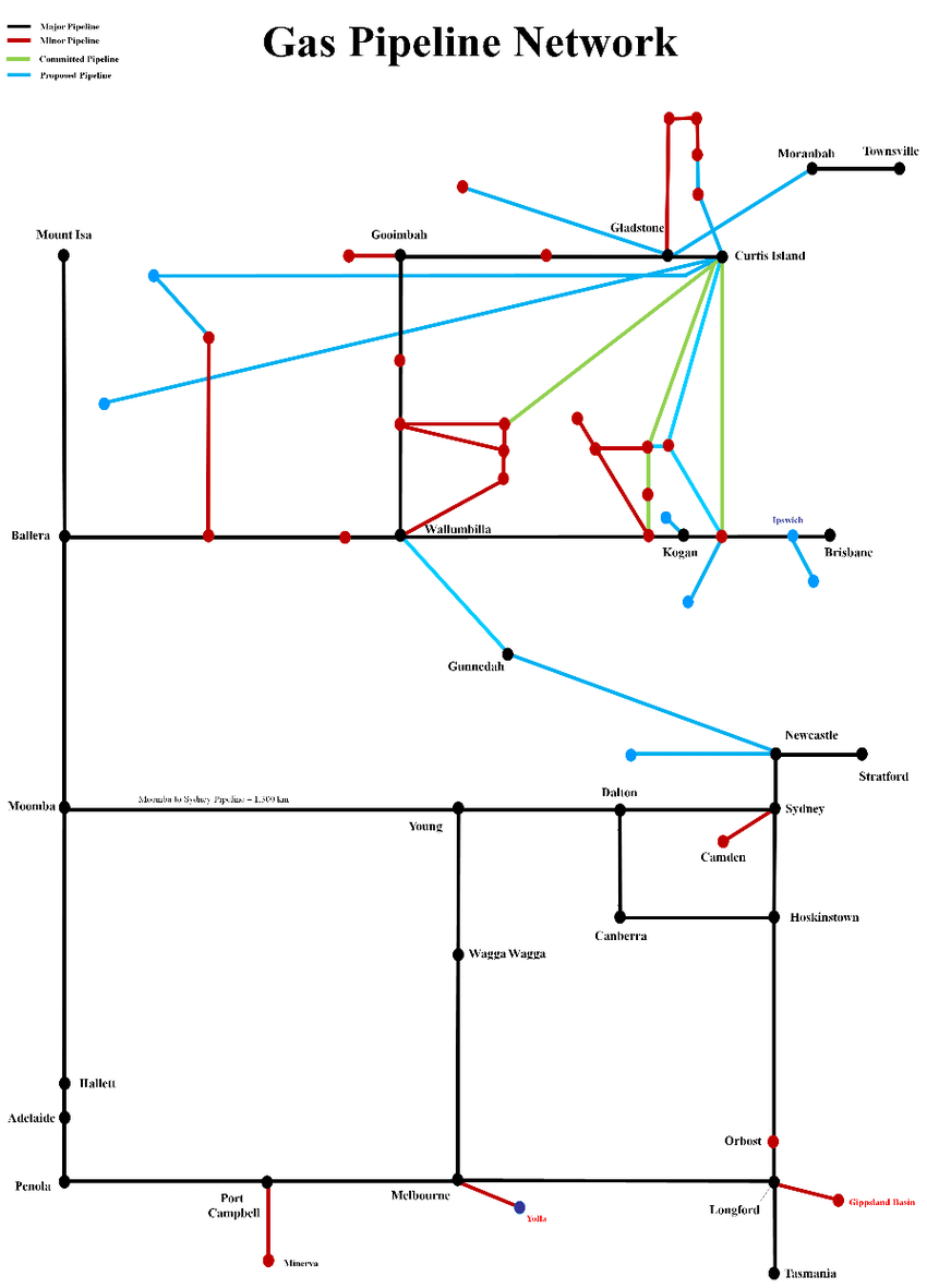 hight resolution of stylized network diagram of the eastern australian natural gas market
