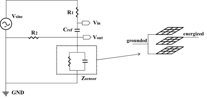 Simplified schematic design of the sensor circuit and