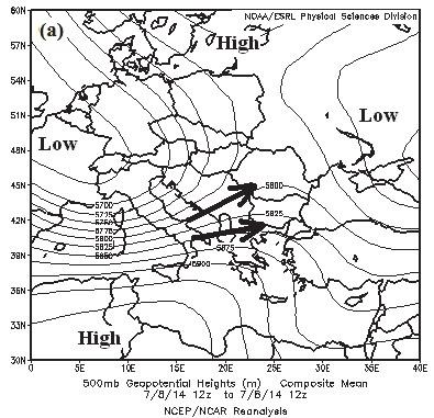 Synoptic scale patterns on July 8, 2014, 12:00 UTC: (a