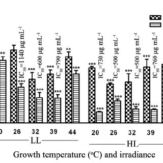 Effect of growth temperature, light intensity, and