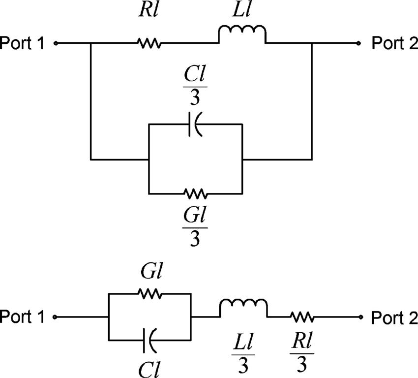 Second-order transmission-line circuit models of: (top