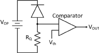 Electronic circuit schematic of a SPAD with passive