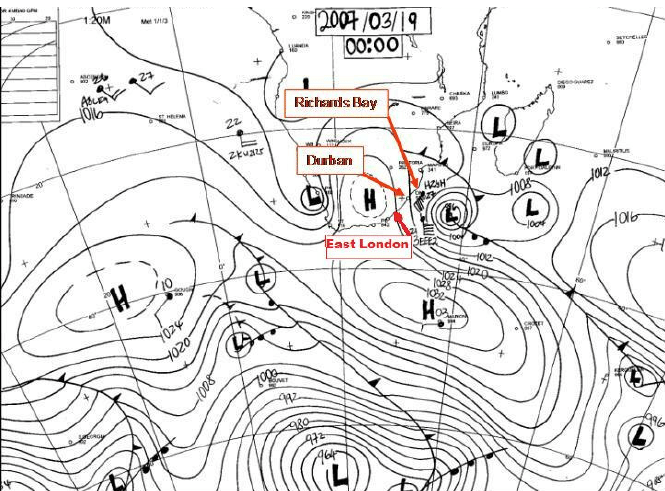 Synoptic chart for 19 March 2007 indicating cut-off low