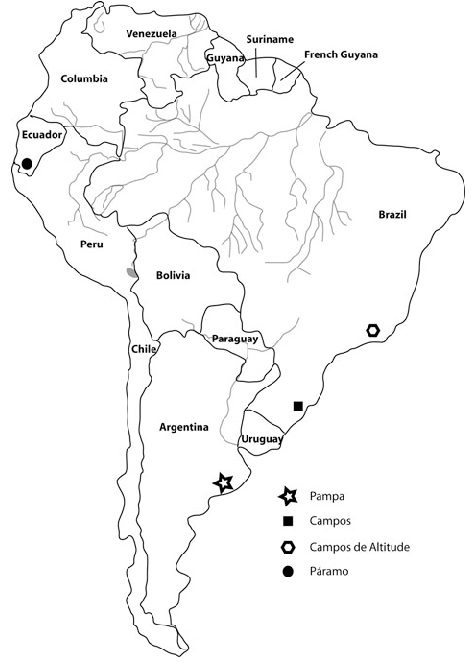 Map showing the study sites within the grasslands of South