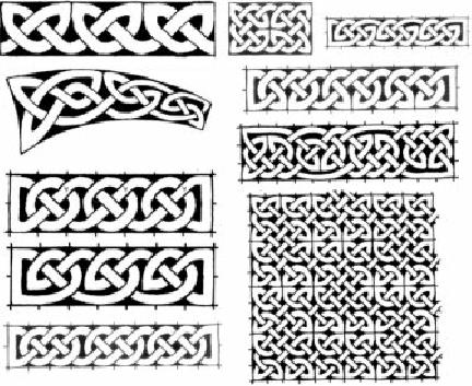 Celtic knots, friezes and plane knotwork ornaments