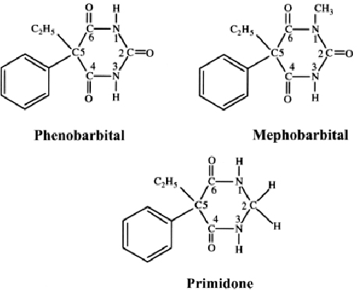 Chemical structures of the barbituric acid derivatives