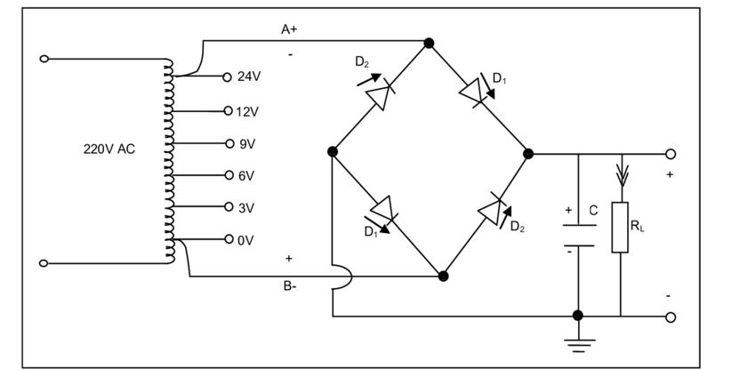 Full-wave bridge rectifier and smoothening circuit