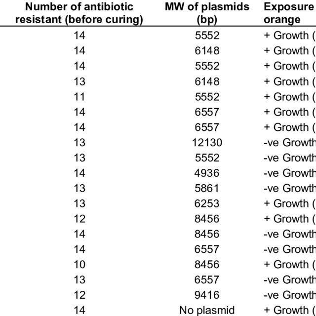 S. aureus isolates with their plasmid profiles against the