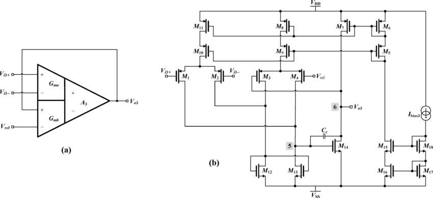 (a) unity gain voltage buffer using a differential