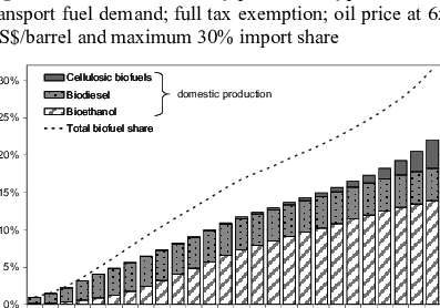 Share of biofuels by production type in overall transport