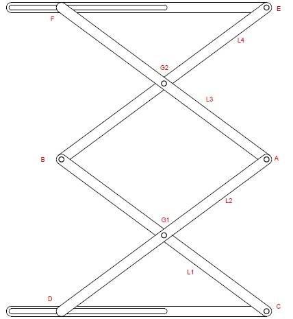 Basic Construction of 2 stage Scissor Lift Mechanism II