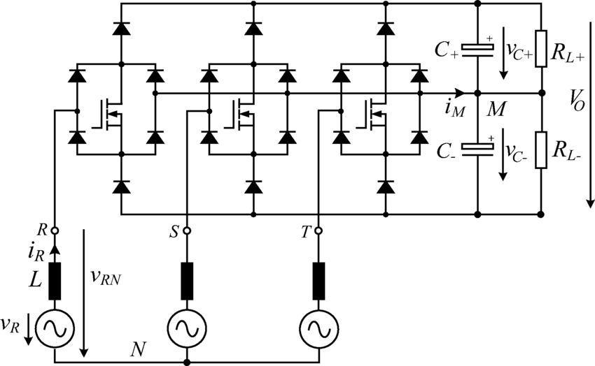 Power circuit of a unidirectional, three-phase, three