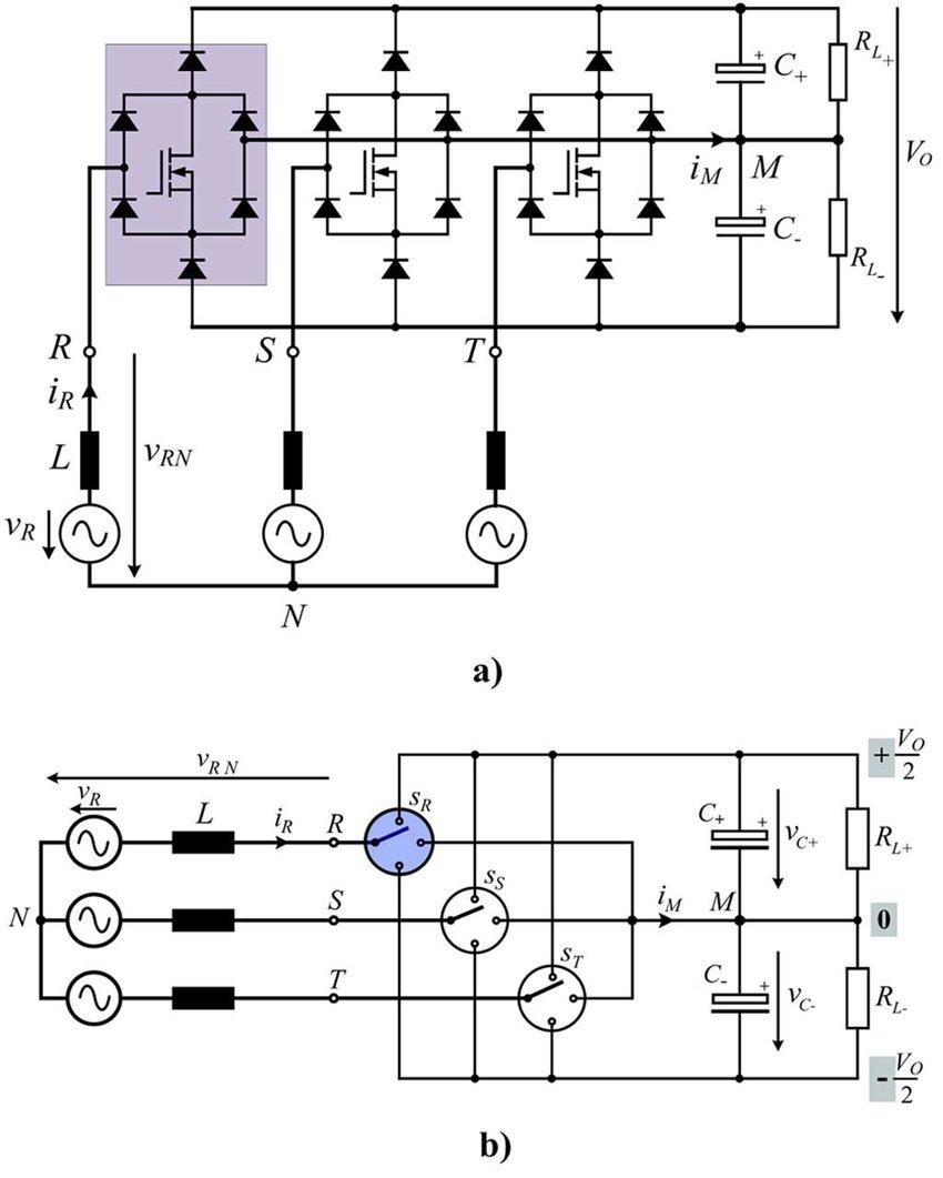 (a) Power circuit of a three-phase, three-level, Vienna