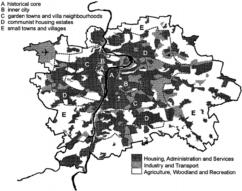 Prague: urban spatial structure and land use. Source of