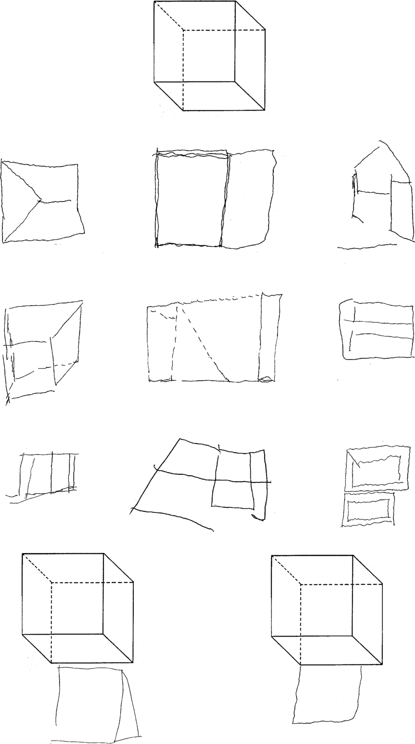 Copying of geometrical drawings: cube (model on the top